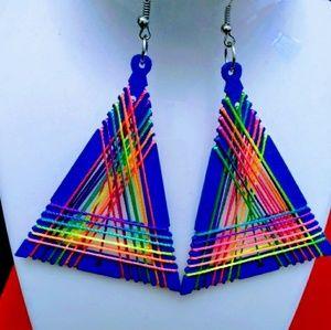 Colorful wood thread hook dangle earrings Blue